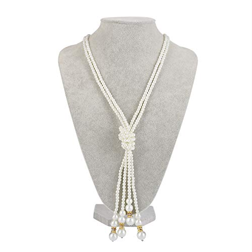Long Pearl Necklace Costume Jewelry Flapper Beads Cluster Pearl Necklace Gatsby Accessories for Women ()