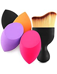 4+1Pcs Makeup Sponges with Contour Brush by BEAKEY, Multi-Colored 4 pcs Flawless Foundation Blending Sponge, Used for All Kinds of Cosmetics, Dry and Wet Use, Professional Makeup Set