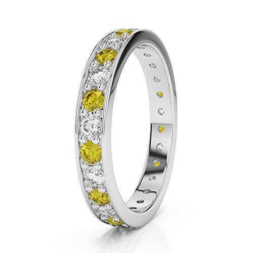 G-H/VS 0,38CT Coupe ronde sertie de diamants Saphir Jaune et Full Eternity Bague en platine 950Agdr-1080