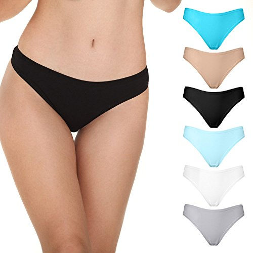 Women Underwear, 5 Pack Women's Thongs Breathable Cotton Panties( Mixed Color, S) (Tanga Set)
