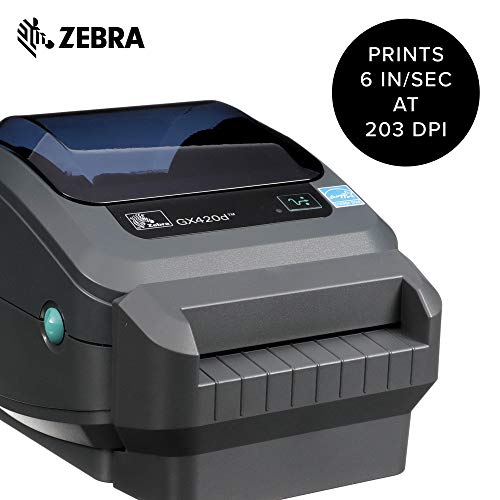 Zebra - GX420d Direct Thermal Desktop Printer for Labels, Receipts, Barcodes, Tags, and Wrist Bands - Print Width of 4 in - USB, Serial, and Parallel Port Connectivity (Includes Cutter) by Zebra Technologies (Image #1)