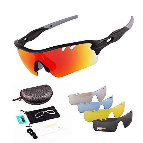 Tonecesol Polarized Sports Sunglasses Cycling Sun Glasses for Men Women with 5 Interchangeable Lenses Driving Running Bike Fishing Golf Tr90 (Black/Grey)