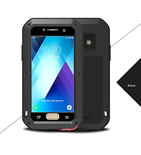 Galaxy A520 Case,Love Mei,Shockproof Dust / Dust / Snowproof Aluminum Gorilla Glass Heavy Duty Cover For Samsung Galaxy A520/A5 (5.2