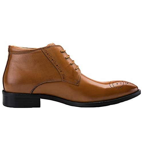 Lace Boots Chukka Brown Shoes Santimon up Toe Leather Brogue Dress Mens Ankle gqwwWO6aC