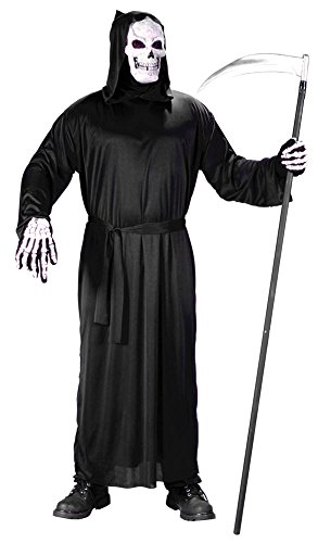 [Grim Reaper Monk Wizard Monster Deluxe Black Full Cut Hooded Horror Robe with Hood Adult Size Halloween] (Black Full Cut Robe Costumes)