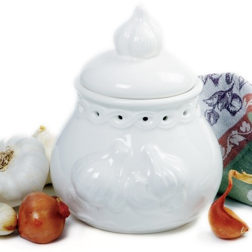 Le Creuset Garlic - Norpro Deluxe Stoneware Garlic Keeper   Measures 7