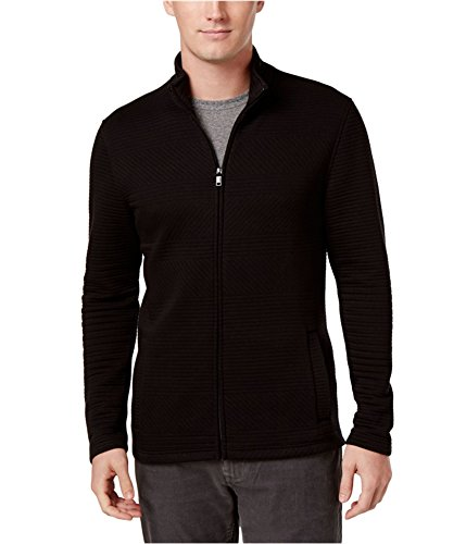 Alfani Mens Ribbed Knit Mock Neck Basic Jacket Black (Alfani Jacket)