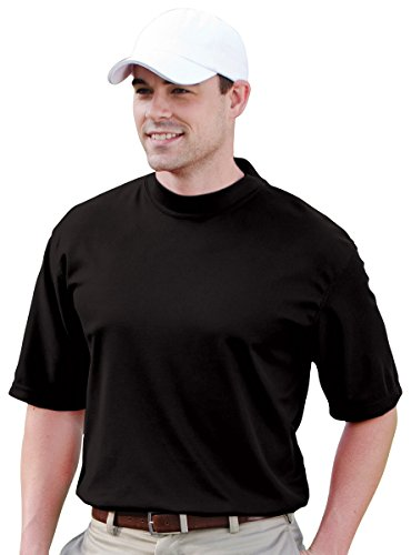 Sleeve Performance Mock Turtleneck - JONATHAN COREY Short Sleeve Performance Mock, Black, L