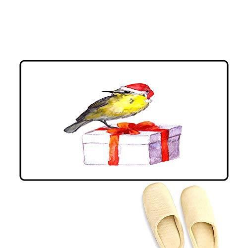 Door Mats for Inside Non Slip Backing Bir in re Santa hat on New Year Gift Box ()