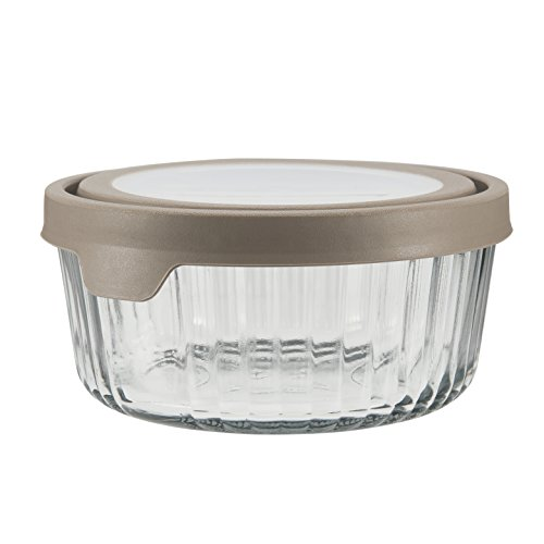 Anchor Hocking TrueSeal Embossed Glass Food Storage Container with Airtight Lid, Pepper Grey, 7 Cup