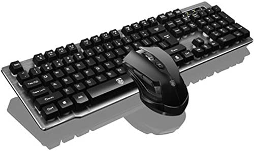 Soke-Six Wireless Mechanical Feel Keyboard and Mouse Set,2.4Ghz Cordless Gaming