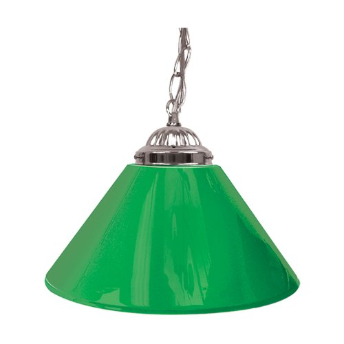"Trademark Gameroom Green Single Shade Gameroom Lamp, 14"" (Silver Hardware)"