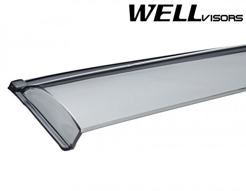 Replacement for 2006-2013 Land Rover Range Rover Clip-ON Chrome Trim Smoke Tinted Side Rain Guard Window Visors Deflectors 3-847LR004 by WellVisors (Image #6)