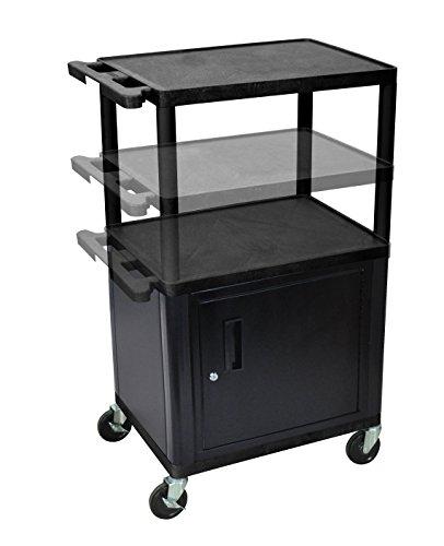 LUXOR LPDUOC-B Endura Presentation Cart, Multi Height with Cabinet, Black