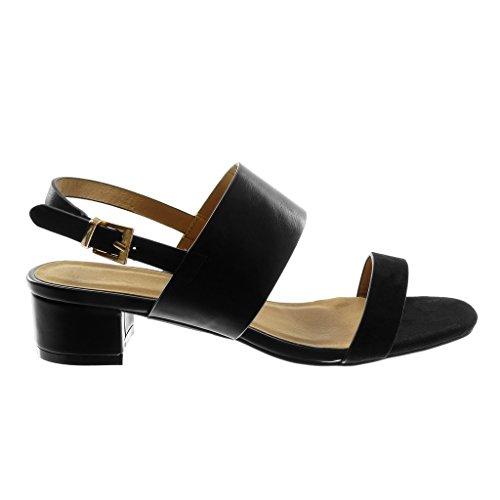 Femme cm Bloc Talon 3 5 Chaussure Lanière Sandale Doré Boucle Mode Escarpin Noir Lanière Haut Cheville Angkorly FqZYwf7