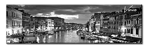 DJSYLIFE Venice Skyline Wall Art - Black and White Stretched Canvas Art Prints - Wall Decoration Painting for Bedroom or Office - Ready to Hang 13.8