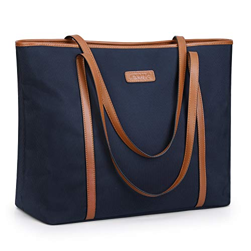 """S-ZONE 15.6"""" Laptop Tote for Women Large Water-resistant Nylon Work Shoulder Bag with Padded Compartment"""