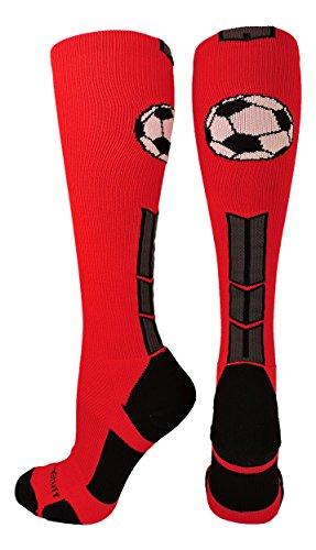 Soccer Ball Over the Calf Socks (Scarlet/Black/Graphite, Medium)