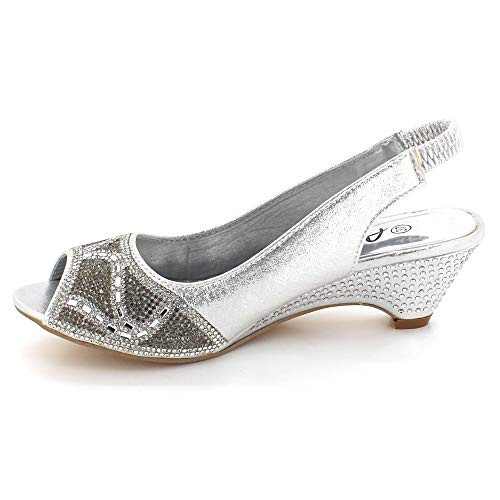 Diamante Slingback Tacón Noche Sandalias Peeptoe Zapatos Paseo Nupcial Mujer Señoras Cuña Fiesta Tamaño Plata Boda ptqwvSR5f