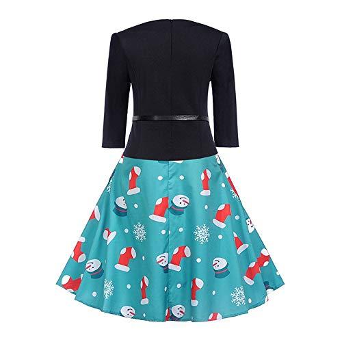 FIRSS Damen Schneemann Weihnachtskleid Weihnachten Socken Schneeflocke druckte Neuheit Ausgestelltes Swing Party Kleid Elegante Abendkleid