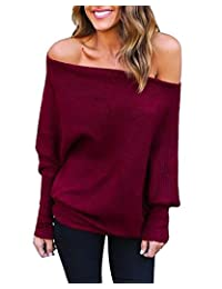Cocobla Women's Knitted One Shoulder Loose Pullovers Batwing Ribbed Sweater