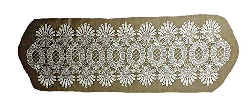 Doily Boutique Table Runner Narrow in Antique White Victorian Lace Size 10 x 48 inches - Antique Victorian Crochet