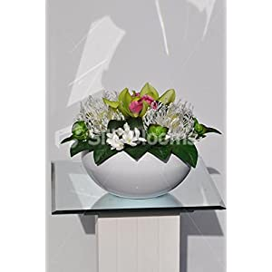 Stunning Green Orchid and Succulent White Floral Vase Display with Protea Pincushion 41
