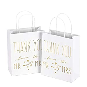 """LaRibbons Medium Size Gift Bags – Gold Foil""""Mr. and Mrs. Thank You"""" White Paper Bags with Handles for Wedding, Bridal Shower, Birthday, Baby Shower, Party Favors – 12 Pack – 8″ x 4″ x 10″"""