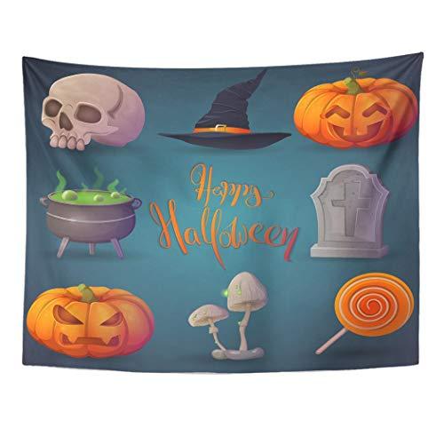 Emvency Wall Tapestry Happy Halloween Terrible Pumpkin Funny