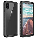 Vapesoon iPhone Xs Max Waterproof Case, Waterproof Shockproof Snowproof with Kickstand Clear Slim Case for iPhone Xs Max (6.5 inch) (Black+Gray/Transparent)