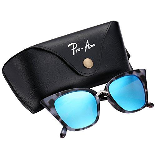 Pro Acme Premium Retro Cat Eye Sunglasses for Women UV400 Protection (Blue Mirrored - Sunglasses Of Type Round For Face