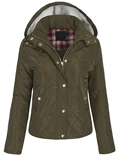 BOHENY Junior Womens Fur Hooded Quilted Jacket with Patched Elbow-S-DARK_OLIVE