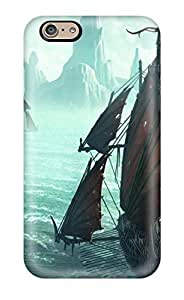 Iphone 6 Case Cover - Slim Fit Tpu Protector Shock Absorbent Case (pirate Ships In Icy Waters )
