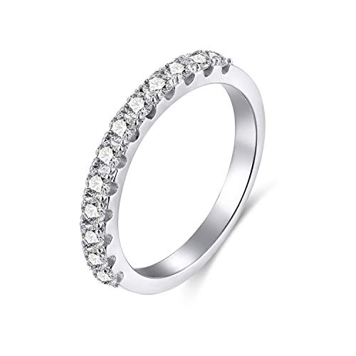 Sterling Silver Engagement Anniversary Ring - EAMTI 2mm 925 Sterling Silver Wedding Band Cubic Zirconia Half Eternity Stackable Engagement Ring Size 3-12 (Silver-3mm, 9.5)