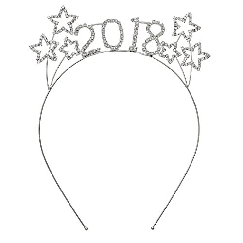 Hair Metal Costume Ideas (Rosemarie Collections Women's Sparkly Rhinestone New Year's Tiara Headband (2018 Stars))