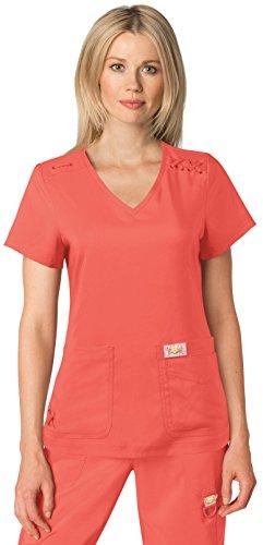 KOI Tech Women's Andi Solid Scrub Top (Large, Rose)