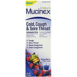 Mucinex Children's Cold, Cough and Sore Throat Liquid, Mixed Berry, 4 Ounce