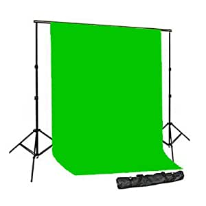 CowboyStudio Photography 10 X 20ft Chromakey Green Muslin Backdrop with 10ft  Heavy Duty Crossbar Background Support System with Carry Bag