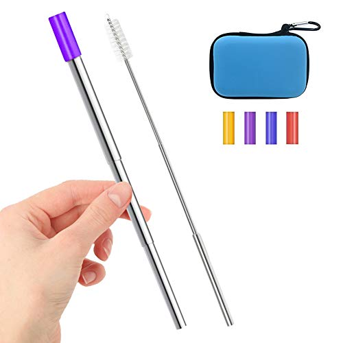 Telescopic Metal Straws, WECLUB Portable Reusable Stainless Steel Straw with Case, 4 Silicon Tips, Collapsible Metal Cleaning Brush, Keychain Clips Included.