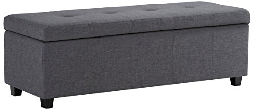 Simpli Home 3AXCOT-241-GL Castleford 48 inch Wide Contemporary Rectangle Storage Ottoman in Slate Grey Linen Look Fabric