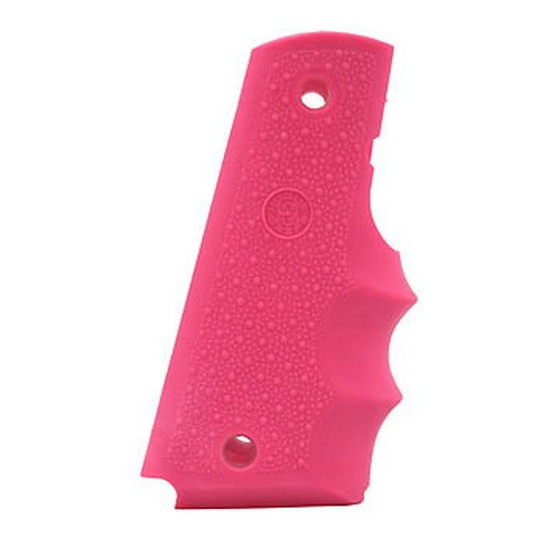 Pistol Pink Grips - Hogue 45007 Colt Government Rubber Grip, with Finger Grooves, Pink