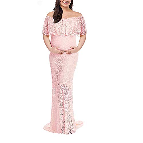 (Pregnant Women's Off Shoulder Maternity Lace Dress Ruffle Slim Fit Gown Maxi Photography Dress (Peach Pink,M))