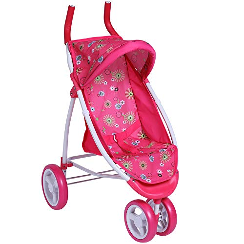 CUBY My First Baby Doll Stroller Doll Jogger Doll Toy Play Pram Stroller with Swiveling Front Wheels Pink, Extra Tall 28