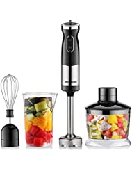 Homeleader Powerful Immersion Blender, 4-in-1 Smart Hand Blender Includes 17 Oz Food Chopper, Egg Whisk, and BPA-Free Beaker, Variable Speed Hand Mixer, 700W