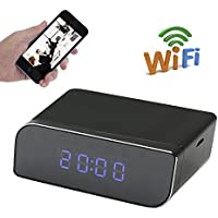 UYIKOO Wifi Hidden Table Clock Camera HD1080P 160°Wide View Angle Spy P2P Camera Mini Digital Clock IP Remote Control Wifi Real Time Video Recorder