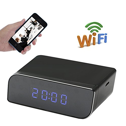 UYIKOO Wifi Hidden Table Clock Camera HD1080P 160°Wide View Angle Spy P2P Camera Mini Digital Clock IP Remote Control Wifi Real Time Video Recorder by UYIKOO