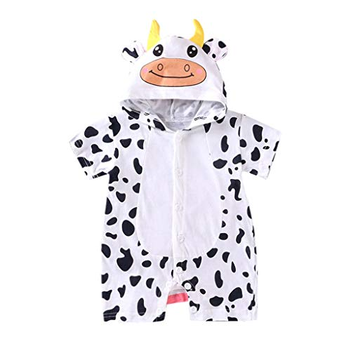 Price comparison product image Tantisy Baby Cartoon Animal Hoodie Infant Jumpsuit Pants Newborn Pajama Outfit Comfy Cotton Romper for Girls Boys White