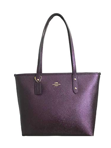 - COACH CITY ZIP TOTE CROSSGRAIN LEATHER HANDBAG BLACK (Metallic Raspberry)