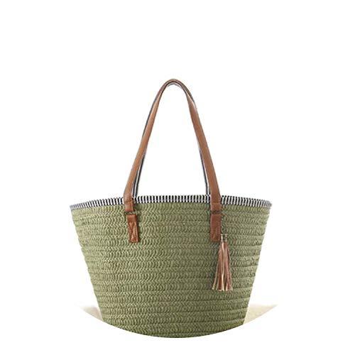 Tassel straw bags rattan women handbags wicker woven shoulder bags large capacity bucket bag,green (Cheap Singapore Baskets Rattan)