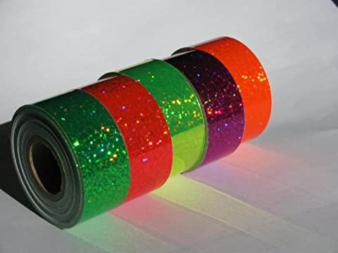 5 Rolls of Glittering Sparkle Hoop Tape, Neon Color Mix, Holographic